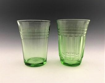 Set of 2 Hazel Atlas Flat Tumblers - New Century and Moderntone Patterns - Green Depression Glass - Uranium Glass
