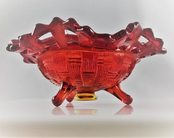 Vintage Fenton Basketweave With Open Edge Ruby (Line #1092) Single Light Candlestick - Three Toed