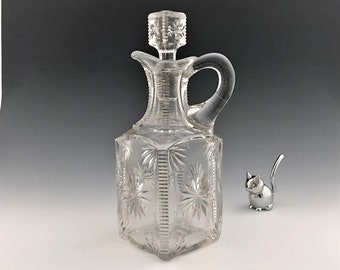 EAPG Decanter - Model Flint Glass - Planet Pattern (OMN) - Early American Pattern Glass - Pint Decanter