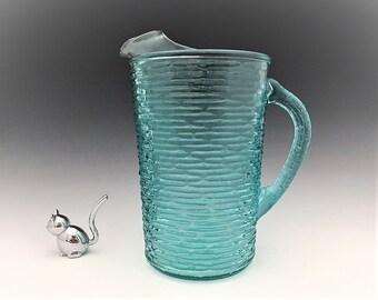 Anchor Hocking Soreno Aquamarine (1966-70) - 67 Ounce Ice Lip Pitcher - Retro Blue Pitcher
