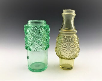 Set of Two EAPG Caster - Condiment Bottles - Daisy and Button - Belmont Glass - Hobbs - Early American Pattern Glass - Circa 1886
