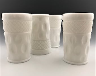 Set of 4 Milk Glass Tumblers - McKee Glass - Opal Pattern - Thumbprint and Cross Hatch Design