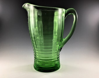 Vintage Uranium Glass Pitcher - Block Optic or Banded Ribs Pattern - Jeannette Glass - Glowing Green Pitcher