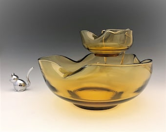 Anchor Hocking 3-Piece Chip and Dip Set - Amber Glass - Accent Modern Collection