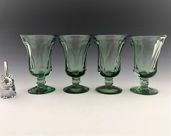 Set of 4 Vintage Fostoria Glasses - Jamestown Green - 4 Ounce Juice Glasses