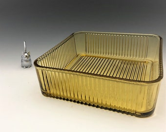 Federal Glass Amber Refrigerator Dish - Vintage Ribbed Glass Fridge Dish