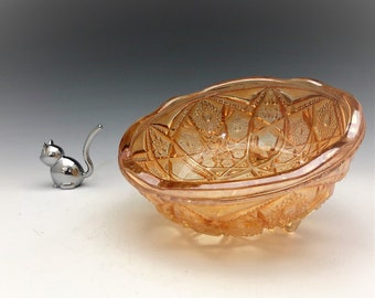 Jeannette Glass Company - Antique Classics Carnival Glass Bowl - Iridescent Bowl - Marigold Bowl - McKee Fentec Pattern