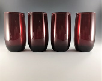 Set of 4 Vintage Ruby Red Tumblers - Anchor Hocking Roly Poly Royal Ruby - 14 Ounce Tumblers - Flat Iced Tea Glasses