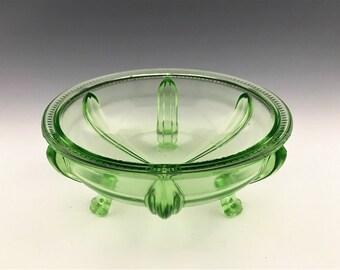 L.E. Smith No. 1022 Console Bowl - Depression Era Uranium Glass Footed Bowl