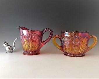 Indiana Glass Iridescent Sunset Carnival Glass Breakfast Set - Heirloom Collection - Amberina Glass