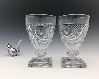 Heisey Ipswich Water Goblets - Set of Two Elegant Glass Goblets