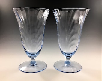 Cambridge Glass Caprice Moonlight Blue Pattern - Iced Tea Glass - Footed 12 Ounce Glasses - Elegant Depression Era Glasses