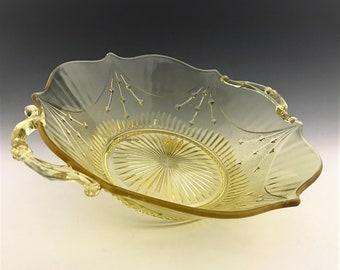 Lancaster Glass Dart Pattern - 9 Inch Handled Salad Bowl - Topaz Depression Era Elegant Glass - Hard to Find