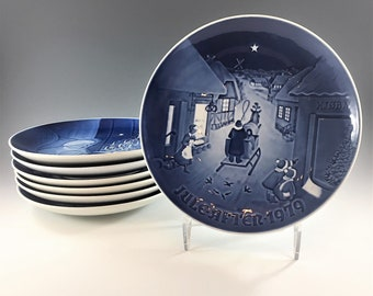 Set of 7 Vintage Dutch Christmas Plates - Bing Grundahl (B&G) - Copenhagen Porcelain Plates
