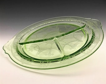 Hocking Glass Cameo Pattern Handled Grill Plate - Green Depression Glass - Uranium Glass - Hard to Find