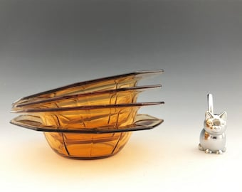 Cambridge Decagon Cereal Bowls - Set of 4 - Depression Era Elegant Glass