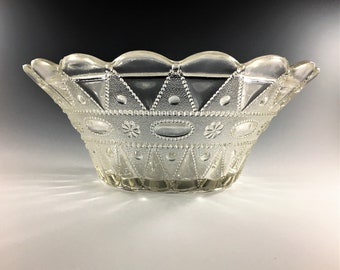 6 Piece EAPG Berry Bowl Set - Co-operative Flint Glass No. 1902 (OMN) - AKA Lacy Dewdrop - Circa 1902 - Master Bowl and 5 Smaller Bowls