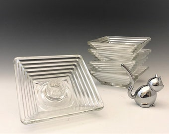 Hocking Glass Manhattan Pattern - Set of 5 Candlestick Holders - Depression Glass Candle Holders