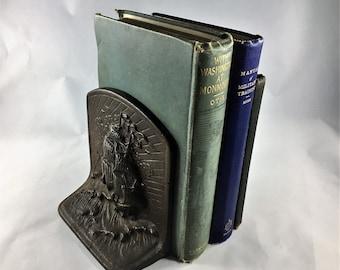 Vintage Cast Metal Ship Bookend - Heavy Seas Tall Ship Book Holder Upper