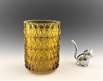 Beautiful Amber EAPG Spooner - Central Glass No. 775 - Block and Diamond - Pressed Diamond - Zephyr - Circa 1885