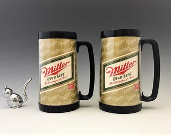 Set of Two Miller High Life Thermo-Serv Mugs - The Champagne of Beers