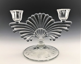 Exquisite Paden City #221 Maya Candlestick Holder - Art Deco Styling - Floral Cutting - Depression Era Elegant Glass