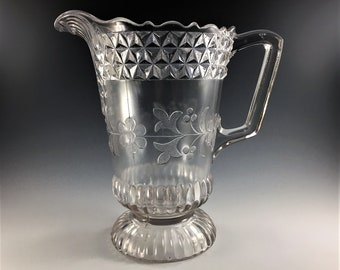 EAPG Pitcher - Adams and Company Glass Company No. 140 (OMN) - AKA Wildflower - Early American Pattern Glass - Circa 1880's