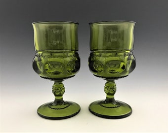 Set of 2 Vintage King's Crown Glass Water Goblets - Green - Classic Thumbprint - 8 Ounce Glasses