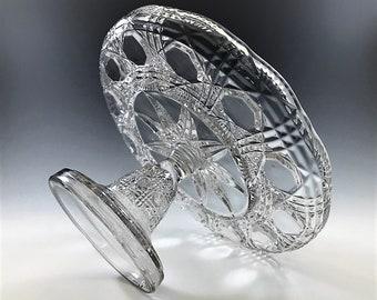 EAPG Cake Stand - Jones, Cavitt and Company - Romeo Pattern - AKA Block and Triple Bars - Circa 1889 - Early American Pattern Glass