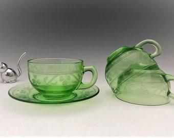 Hazel Atlas Cloverleaf Pattern - Set of 3 Cups and Saucers - Green Depression Glass - Glowing Uranium Glass - Shamrock