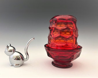Viking Glass Ruby Red Georgian Glimmer #6927 Fairy Lamp - Fairy Light - Courting Lamp