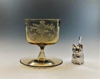 Vintage Elegant Amber Glass Cigarette Holder - Integrated Ashtray - Sinclaire Glass - Acid Etched - Hard to Find