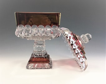 Westmoreland Glass Ruby Stained Wedding Box - 9 5/8 Inch Medium Wedding Bowl - Line 1874