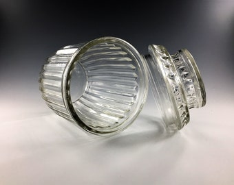 Vintage Anchor Hocking Ribbed Storage Jar With Lid - Clear Glass Jar