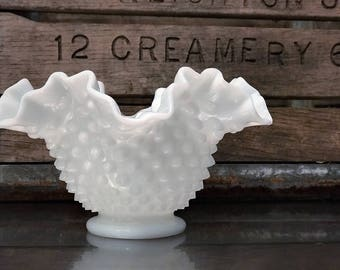 Vintage Fenton Milk Glass Hobnail Ruffled Squat Vase - Candy Dish