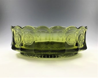 Fostoria Coin Glass Olive Green - 8 Inch Oval Bowl