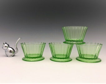 Hazel Atlas Fruit Cup - Set of 4 Footed Sherbets - Jello Molds - Green Depression Glass - Glowing Uranium Glass