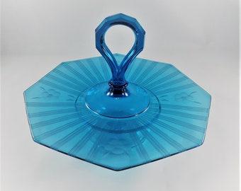 Vintage Westmoreland Blue Glass Center Handled Server (CHS) - Line #1211 - Octagonal Serving Tray - Vintage Blue Glass