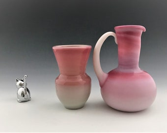 Vintage Peachblow Vases or Pitcher - Guernsey Glass - Gibson Glass - Pink and White Slag Glass