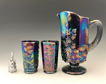 Westmoreland Paneled Grape Water Set  - Amethyst Carnival Glass - Pitcher and Six Tumblers