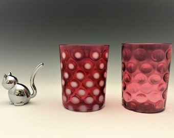 EAPG Tumblers - Two Cranberry Glass Polka Dot Tumblers - Unknown Makers - Early American Pattern Glass (EAPG) - c. 1880's