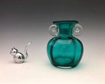 Vintage Teal Glass Vase With Scroll Handles