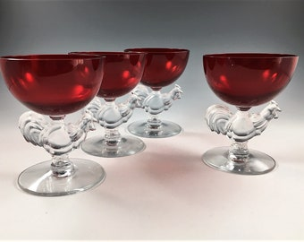 Set of 5 Morgantown Chanticleer Cocktail Glasses - Ruby Red Glasses - Rooster Stems