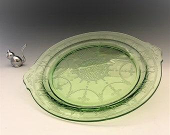 Hocking Cameo Green - Handled Plate - Uranium Glass Plate - Dancing Girl - Ballerina