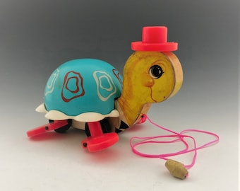 Fisher Price Turtle - Vintage Turtle Pull-Toy - Mid Century Classic Toy