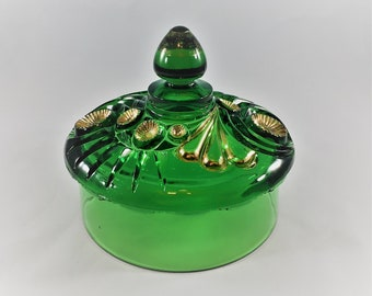 Riverside Glass Works - Esther Pattern - Emerald Green Butter Dish Lid - Tooth and Claw - Circa 1896 - Early American Pattern Glass (EAPG)