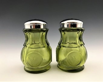 Fostoria Coin Green Salt and Pepper Shakers - Vintage Green Glass