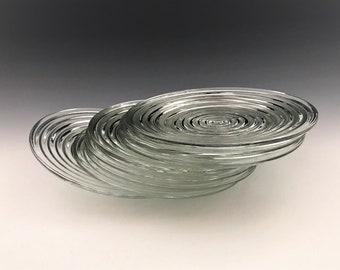 Set of 8 Hocking Manhattan Pattern Bread and Butter Plates - Art Deco Plates - Depression Era Glass Plates