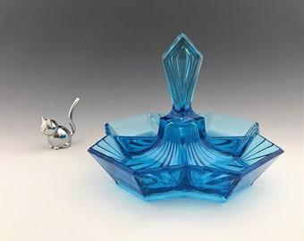 Indiana Glass Pyramid Pattern - Electric Blue Four Part Relish Dish - Tiara Exclusives - Center Handled Tidbit Tray