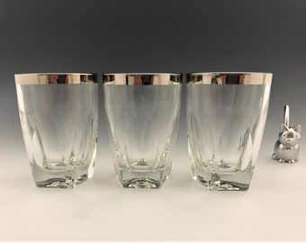 Vintage Silver-Rimmed Whiskey Glasses - Pentagonal Base - Low Ball Glasses - Set of Three - Rambouillet